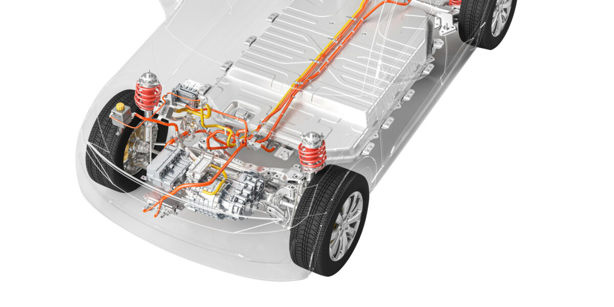 Modern electric car chassis x-ray vehicle battery in studio environment line art 3d illustration